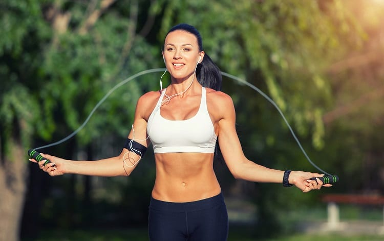 jumping rope while listening music